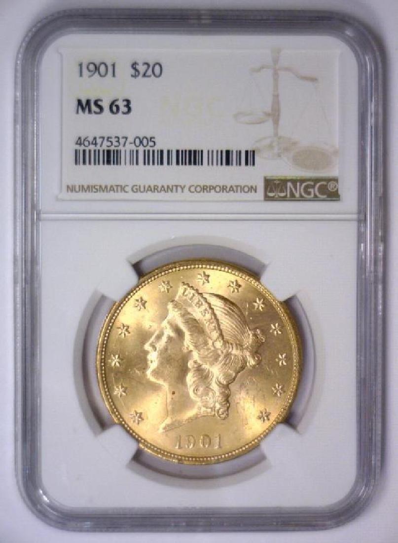 1901 $20 Liberty Double Eagle Gold NGC MS63 - 3