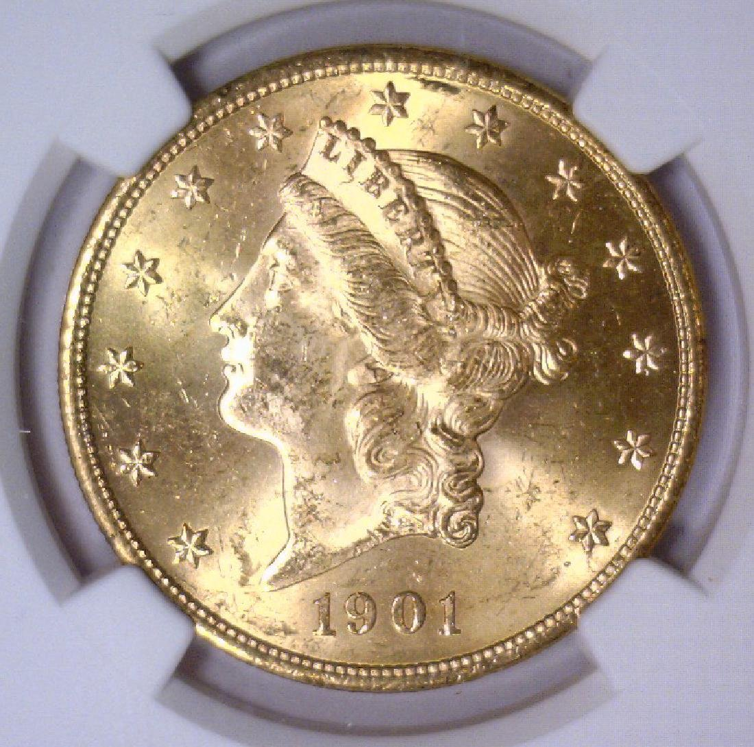 1901 $20 Liberty Double Eagle Gold NGC MS63+