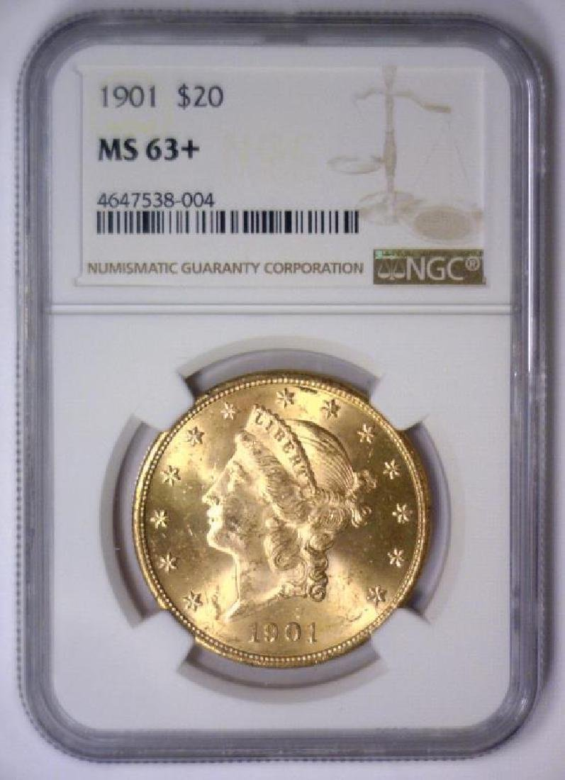 1901 $20 Liberty Double Eagle Gold NGC MS63+ - 2