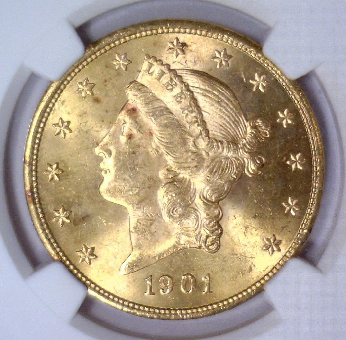1901 $20 Liberty Double Eagle Gold NGC MS64