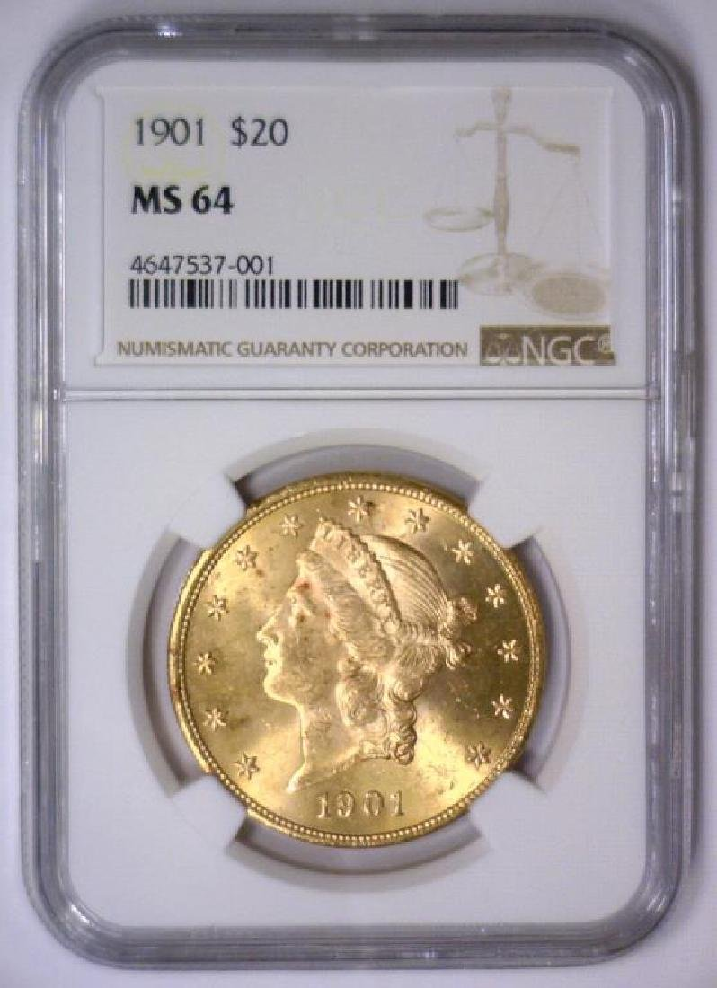 1901 $20 Liberty Double Eagle Gold NGC MS64 - 2