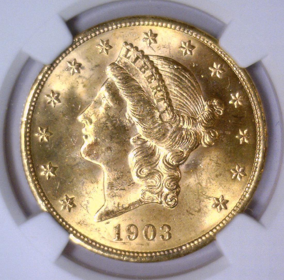 1903 $20 Liberty Double Eagle Gold NGC MS63