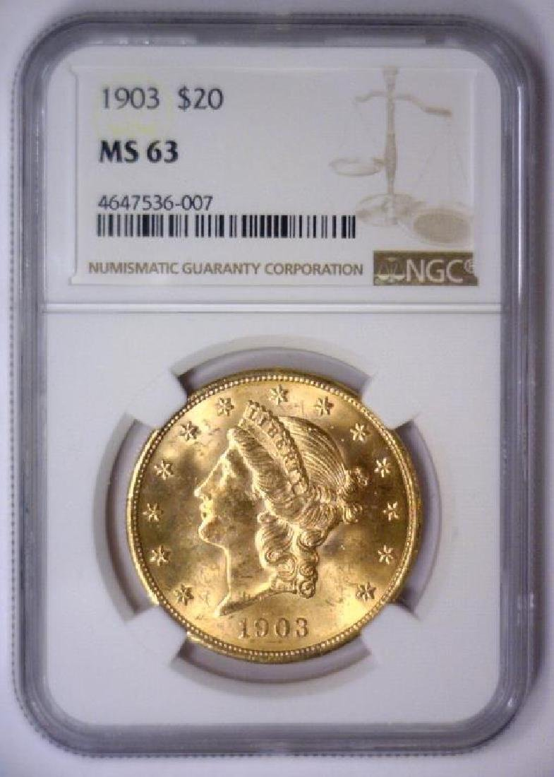 1903 $20 Liberty Double Eagle Gold NGC MS63 - 2