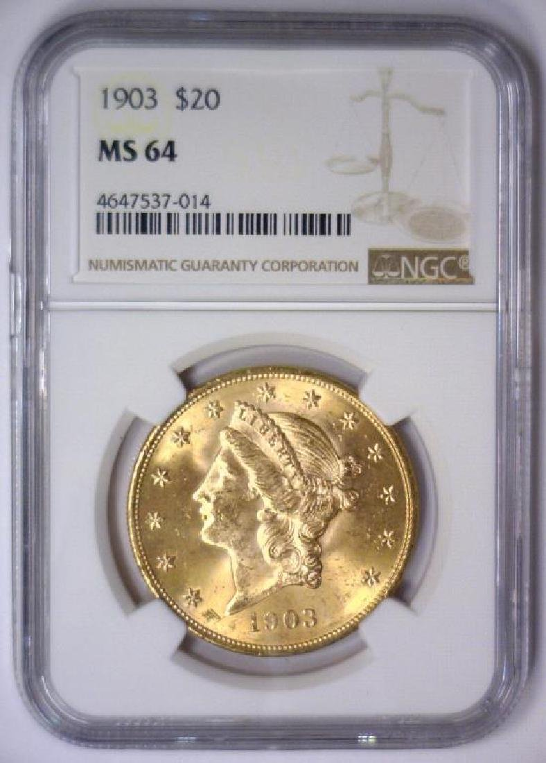 1903 $20 Liberty Double Eagle Gold NGC MS64 - 2