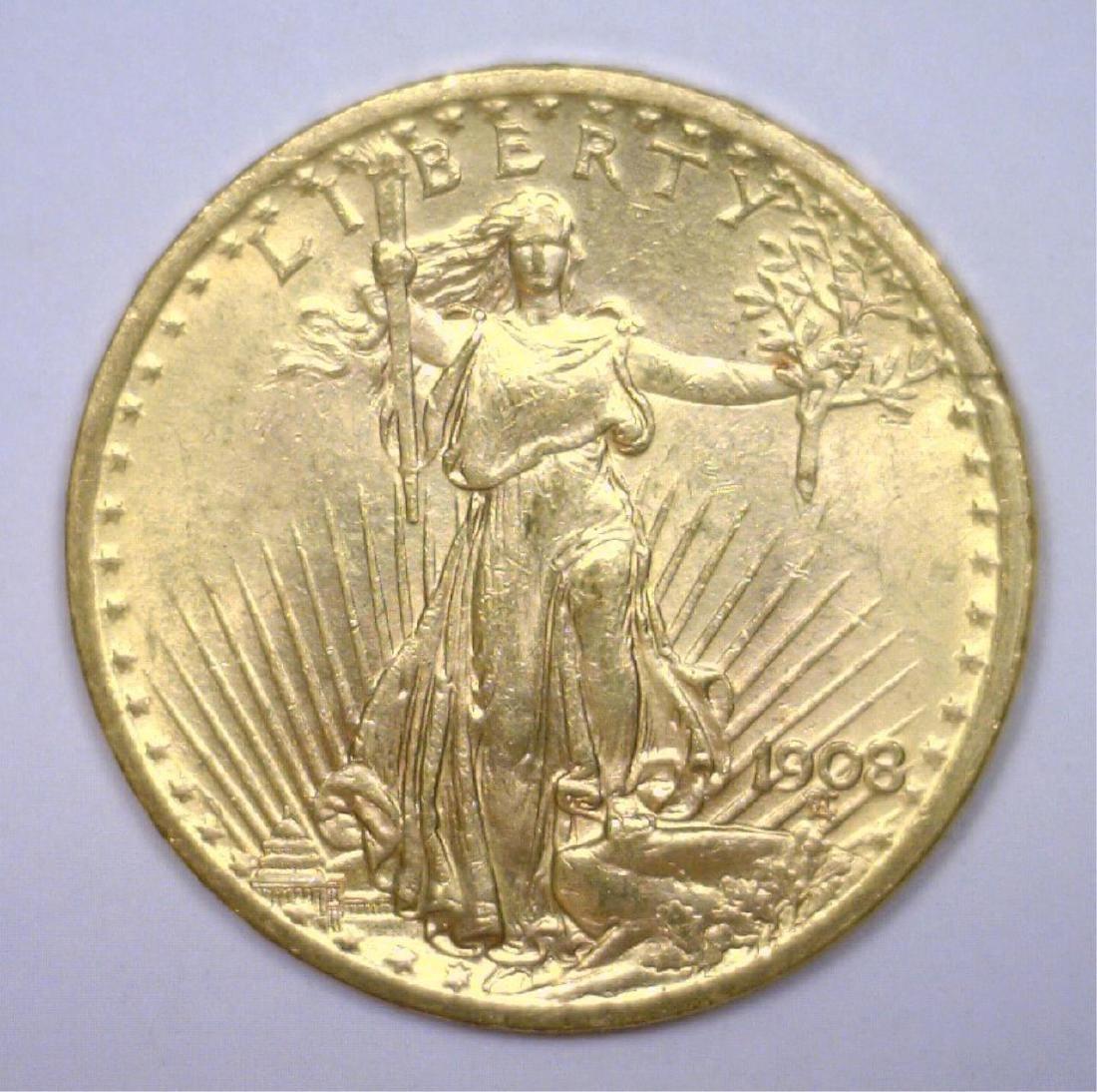 1908 No Motto $20 St. Gaudens Gold Double Eagle BU