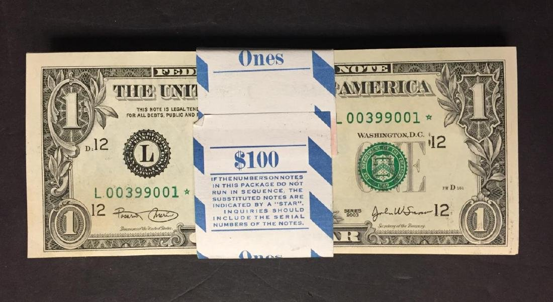 2003 $1 Dollar FRN Notes Pack 100 CU Consecutive