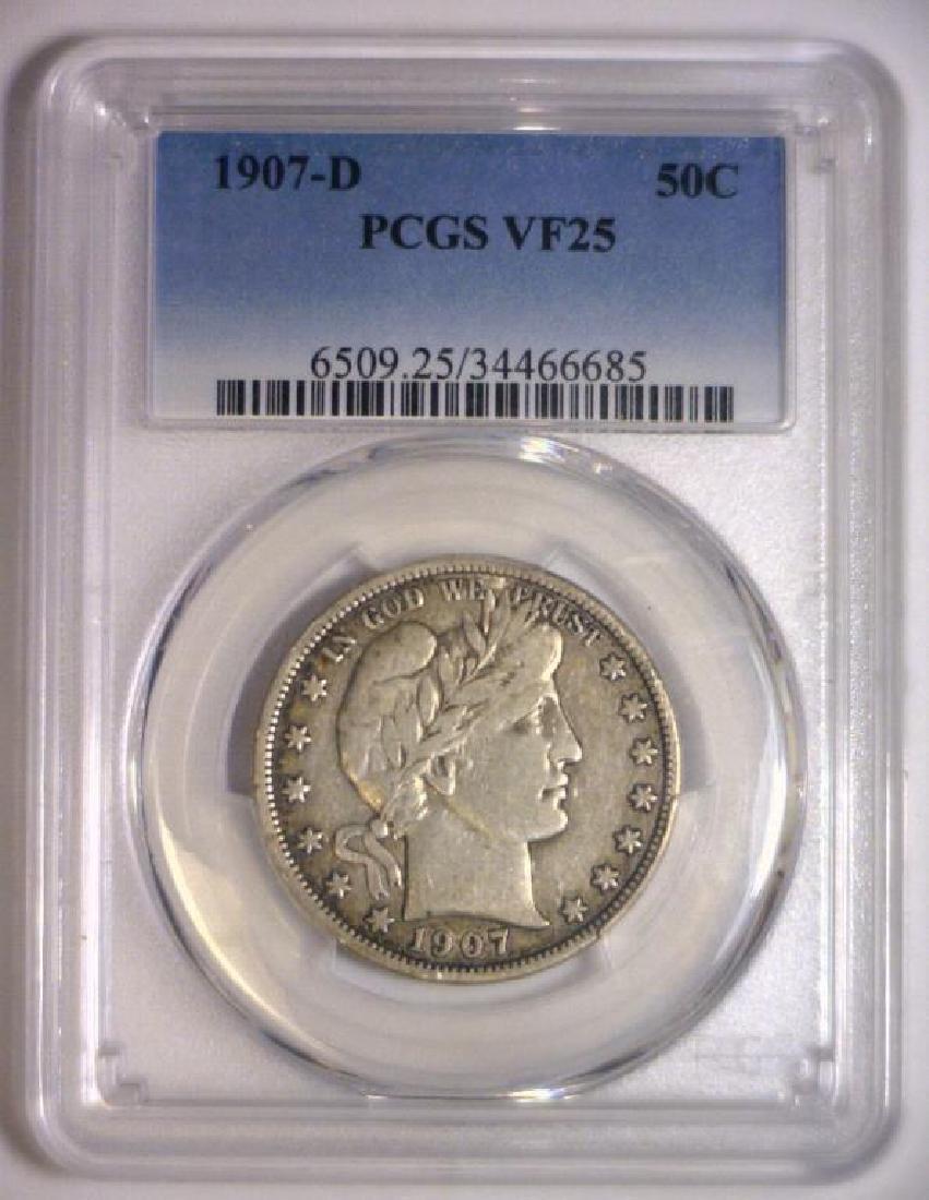 1907-D Barber Silver Half PCGS Very Fine VF25 - 2