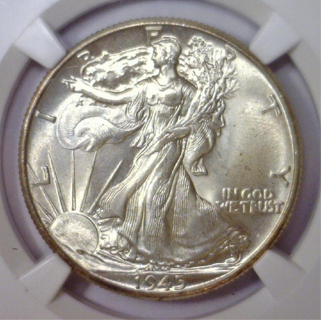 1945 Walking Liberty Silver Half BU NGC MS66