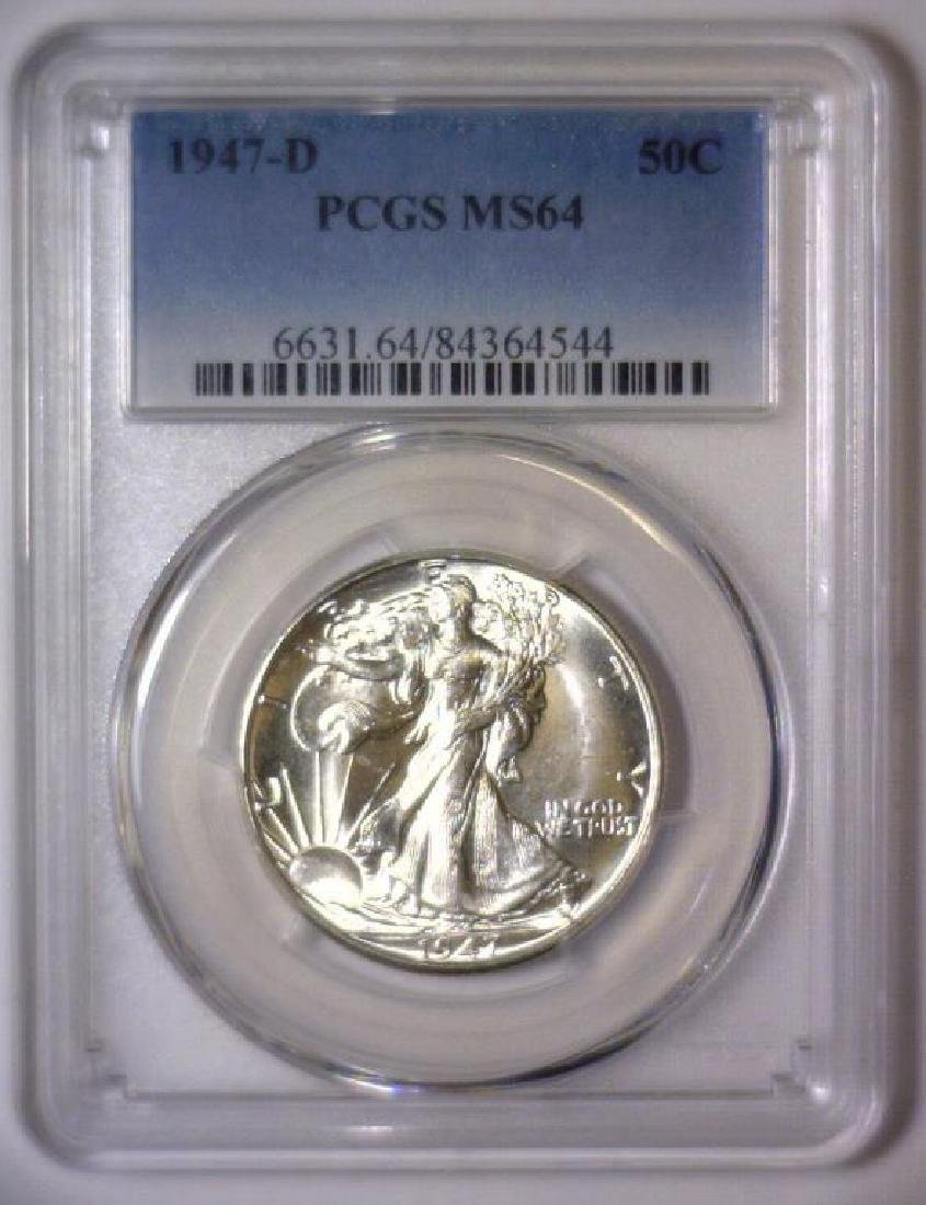 1947-D Walking Liberty Silver Half PCGS MS64 - 2