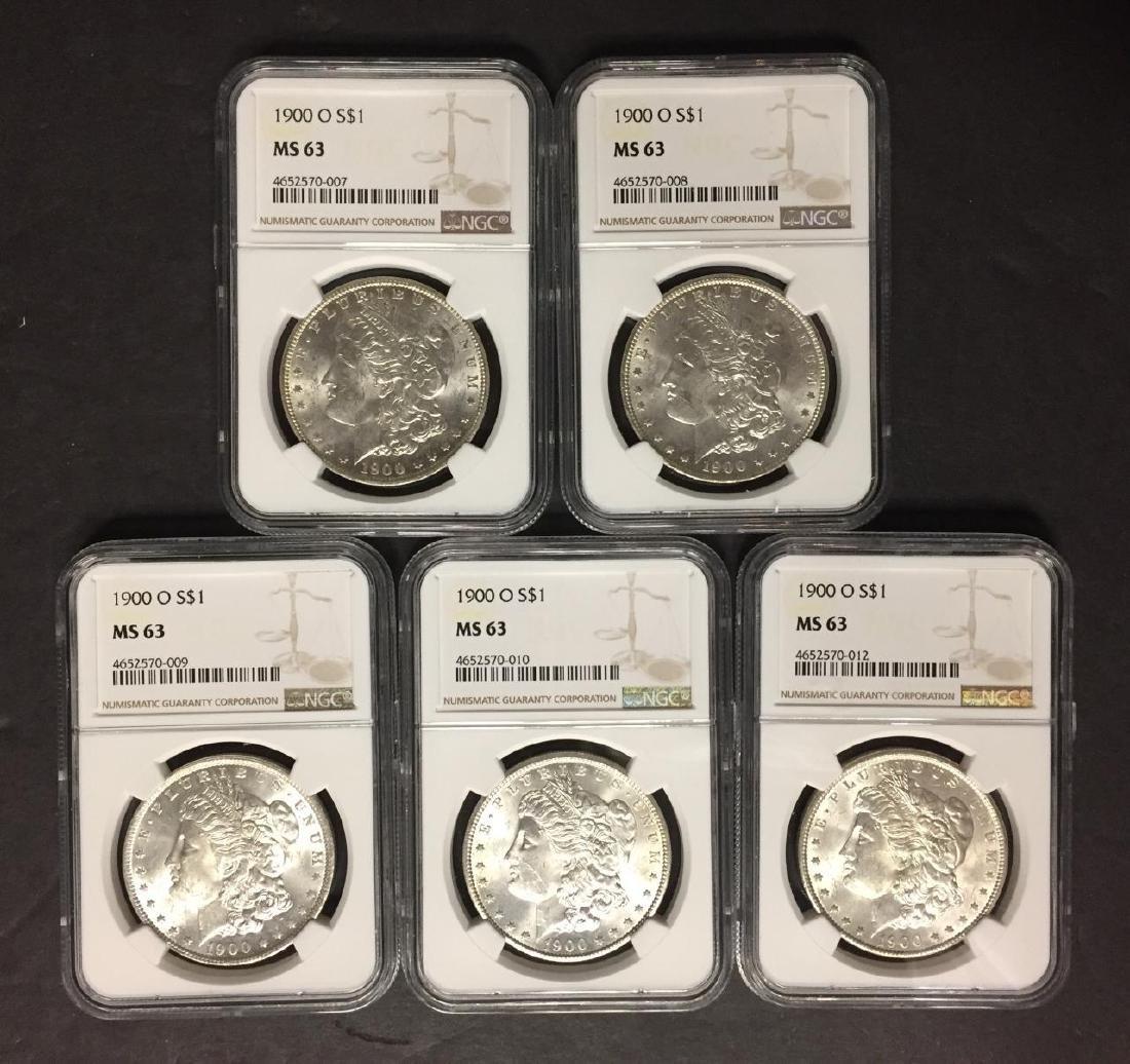 Investor Lot of 5 1900 O Morgan Silver $1 NGC MS63