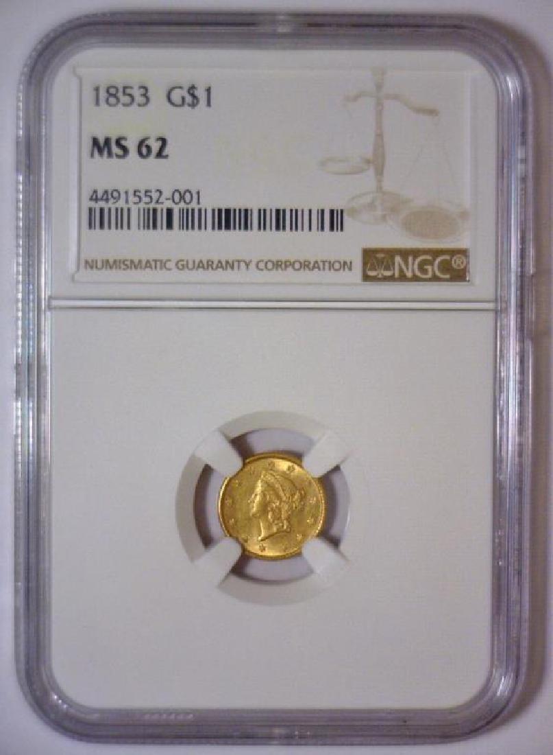 1853 Liberty Head Gold Dollar NGC MS62 - 2