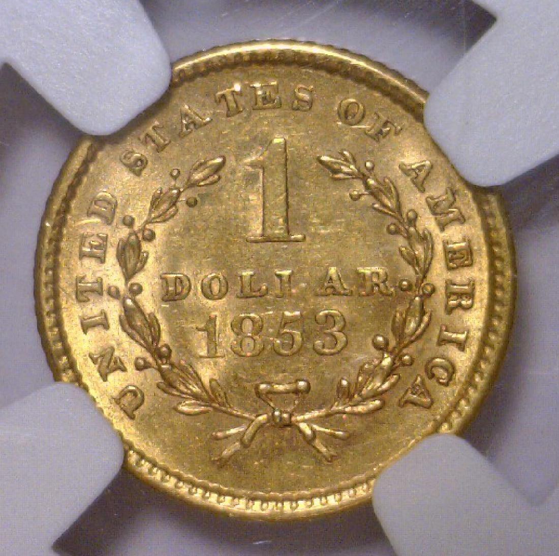 1853 Liberty Head Gold Dollar NGC MS62 - 3