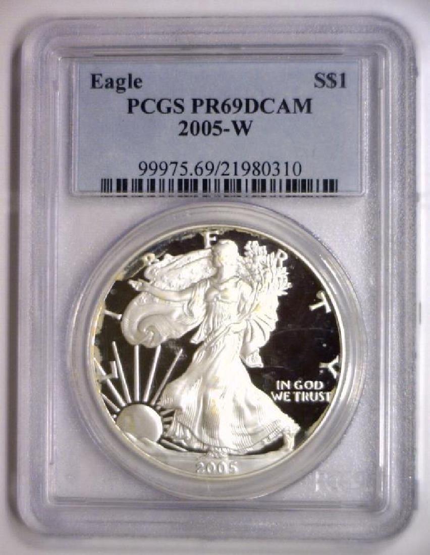 2005 W Proof Silver American Eagle PCGS PR69 DCAM - 2