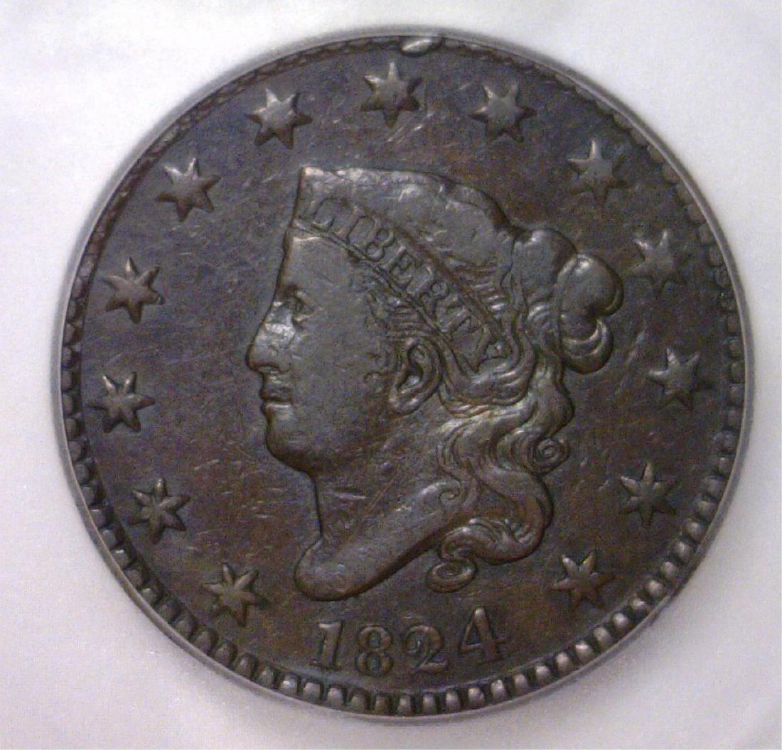 1824 Liberty Head Large Cent ICG F15