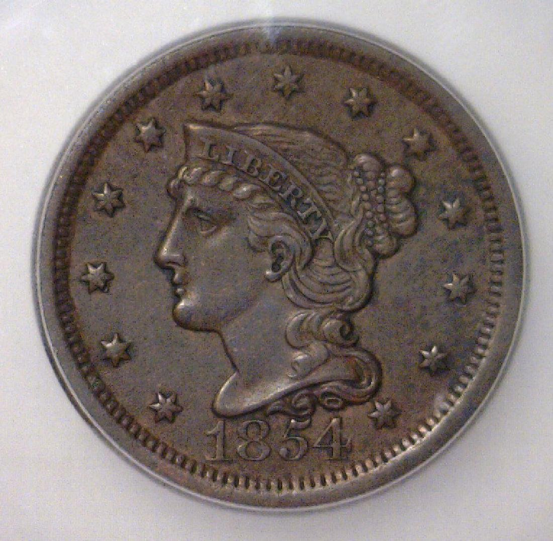 1854 Liberty Head Large Cent ICG AU50 Details