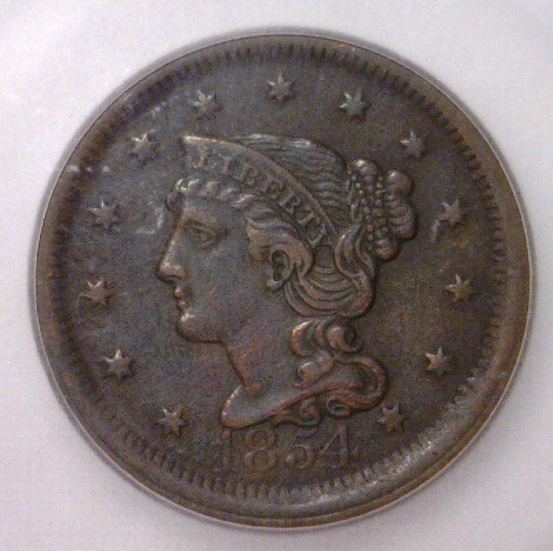 1854 Liberty Head Large Cent ICG AU53 Details