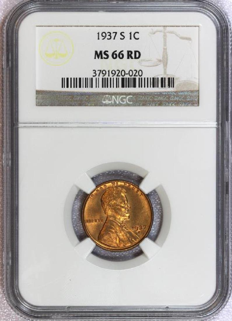1937-S Lincoln Cent NGC MS66 RD Red