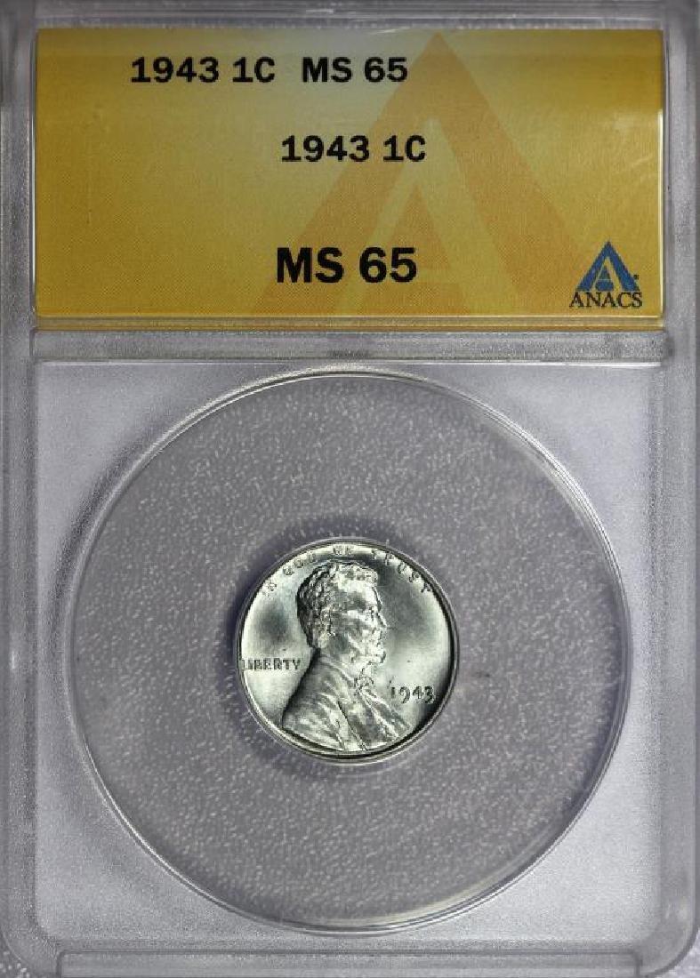 1943 Lincoln Steel Cent Gem BU ANACS MS65