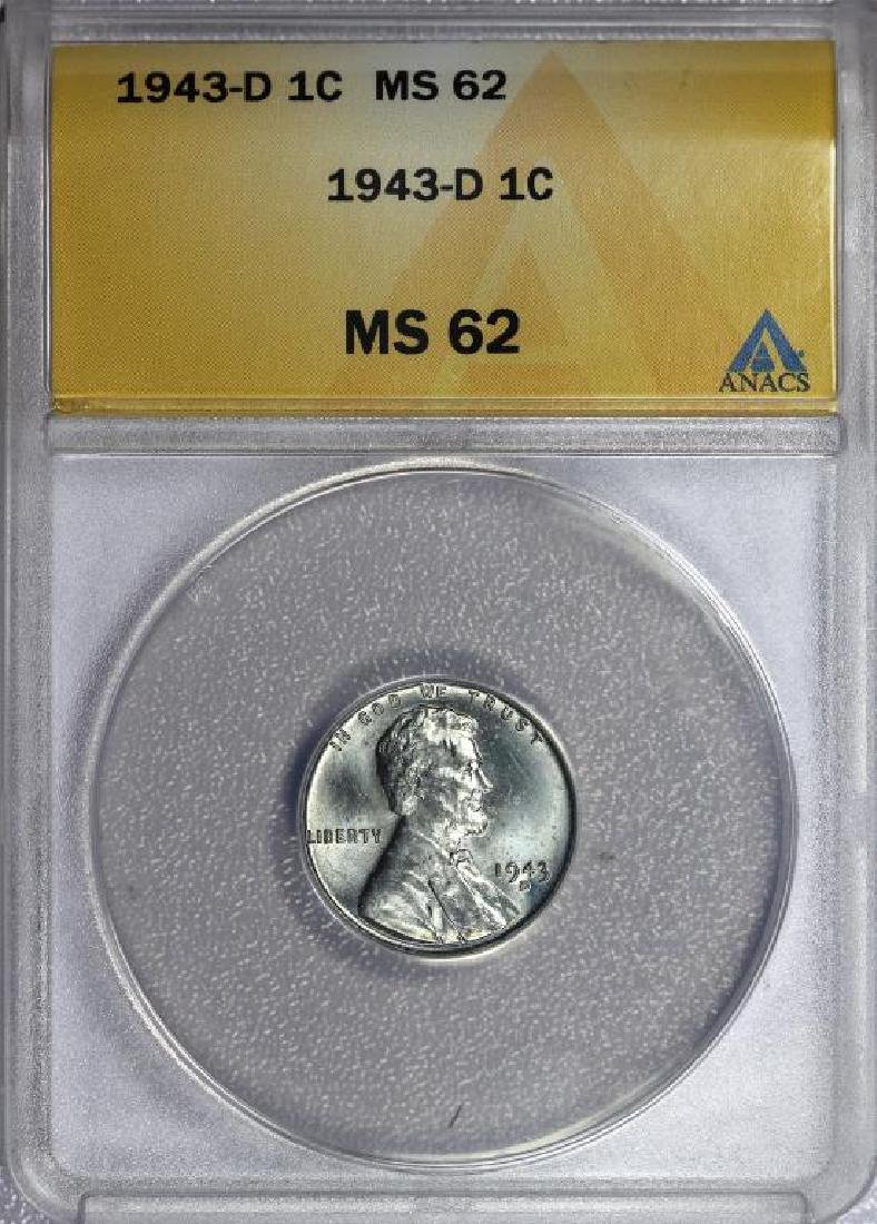 1943-D Lincoln Steel Cent BU ANACS MS62