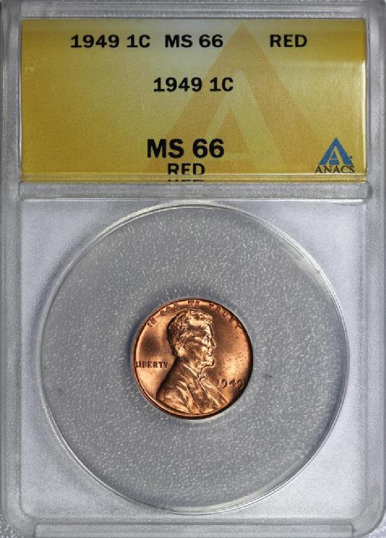 1949 Lincoln Cent Gem BU ANACS MS66 RD Red