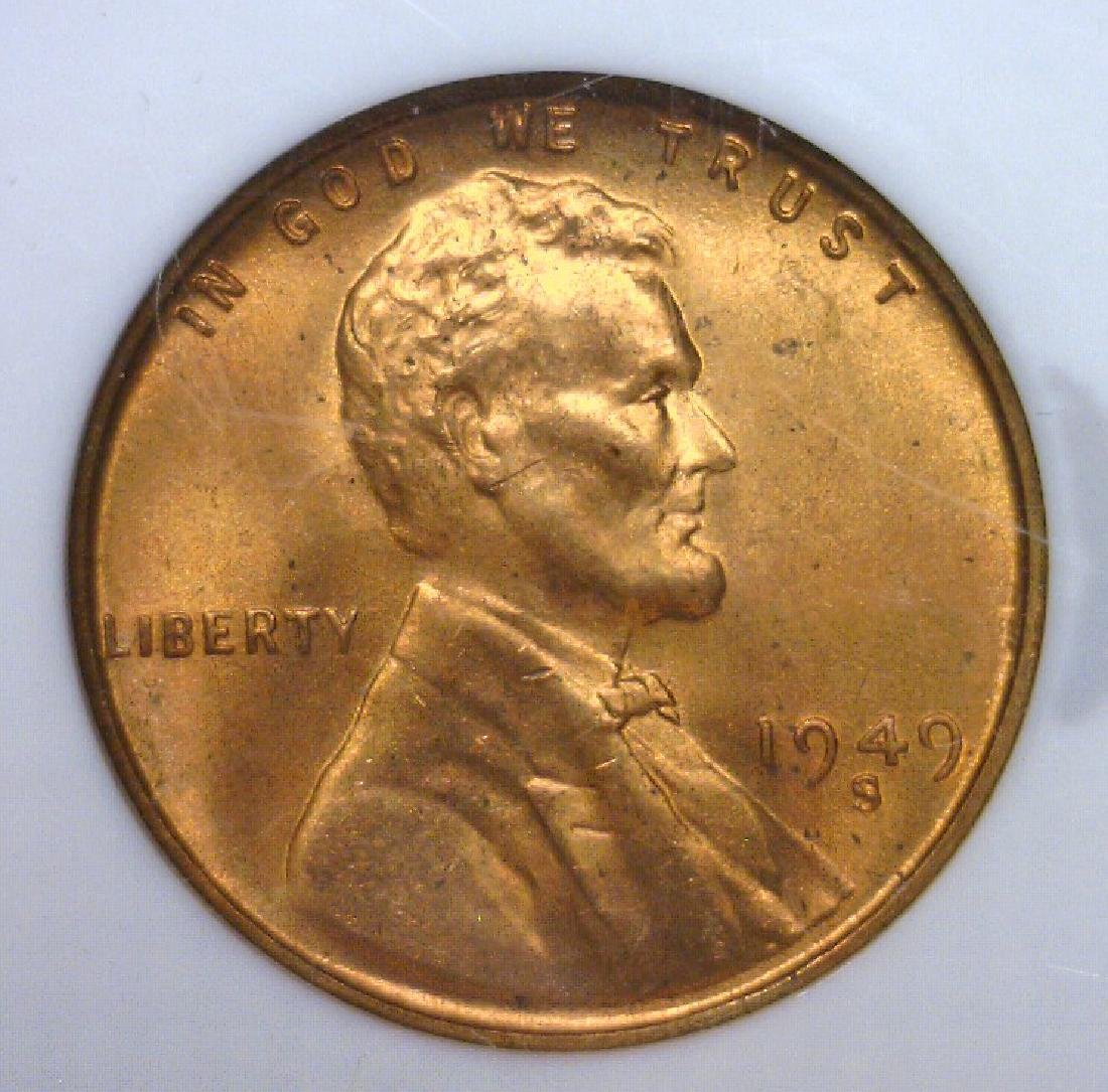 1949-S Lincoln Cent Mint NGC MS66 RD