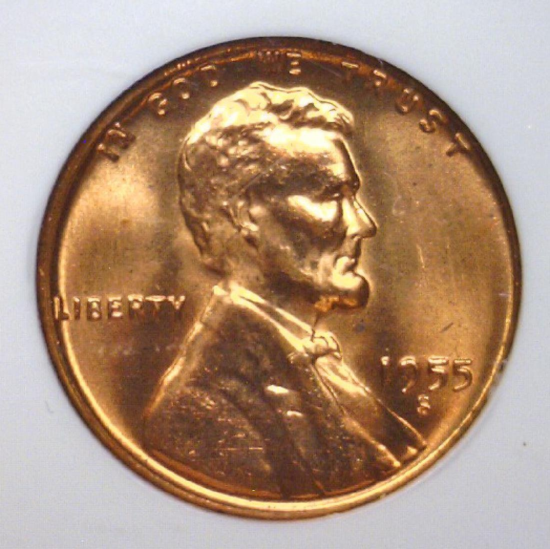 1955-S Lincoln Cent NGC MS66 RD