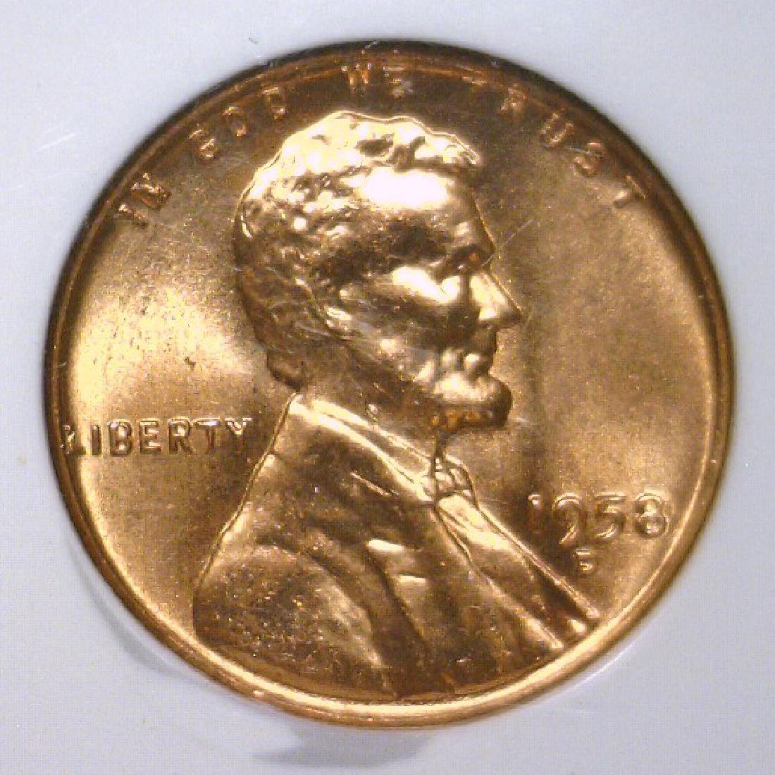 1958-D Lincoln Cent NGC MS66 RD