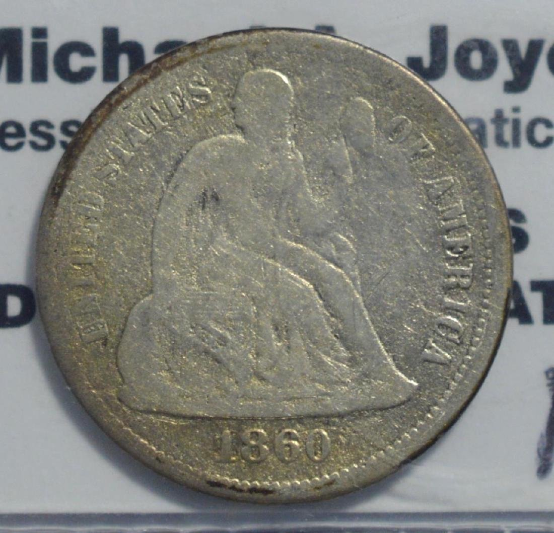 1860 Liberty Seated Dime VG