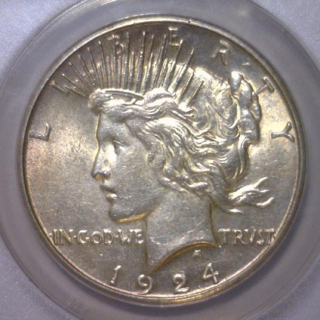 1924-S Peace Silver Dollar Choice AU ANACS AU58