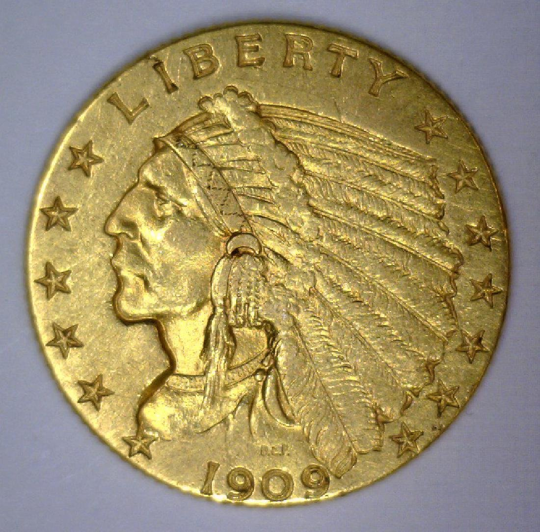 1909 $2.5 Indian Gold Quarter Eagle Extra Fine XF