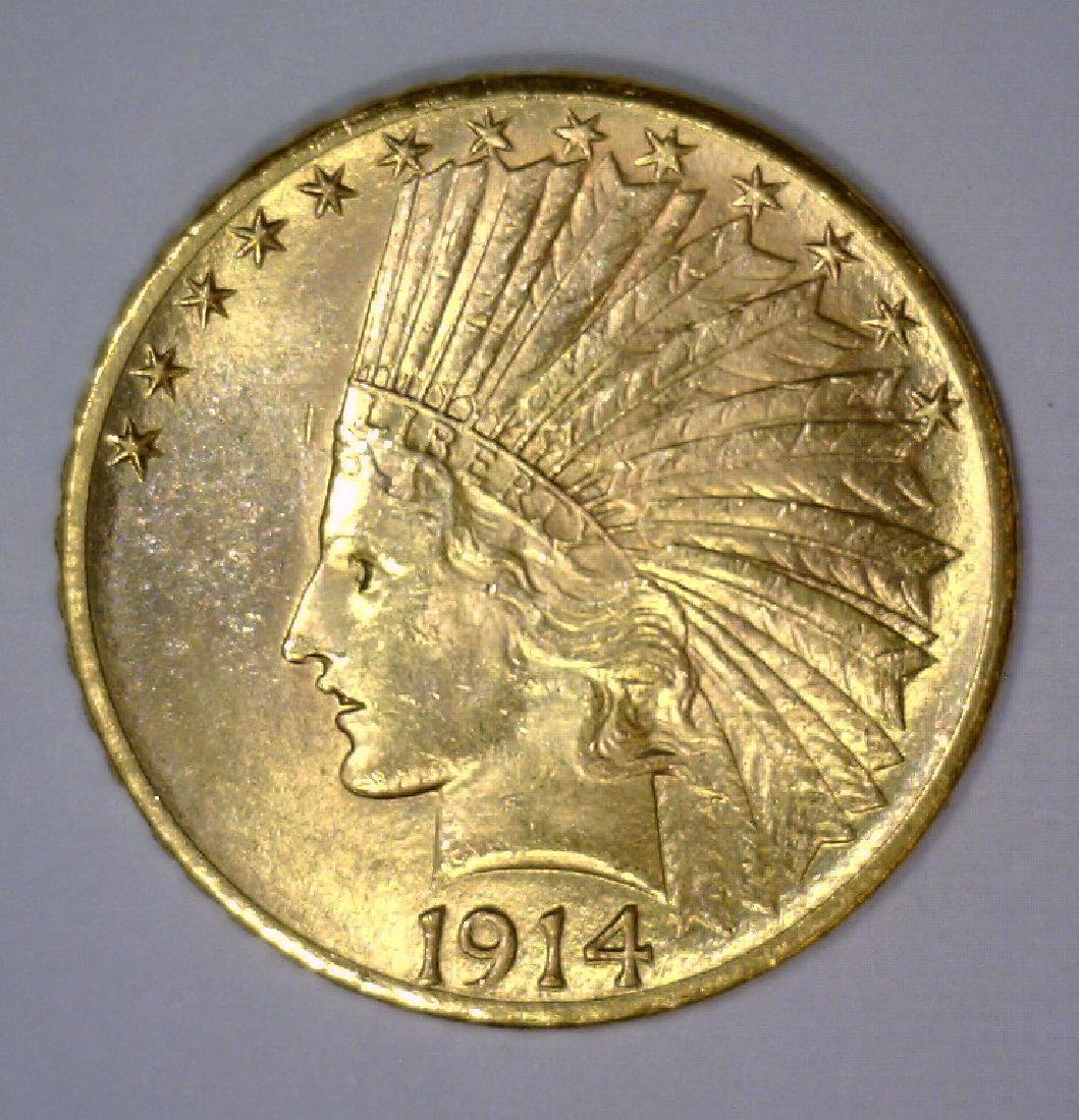 1914-D $10 Indian Gold Eagle UNC Uncirculated BU