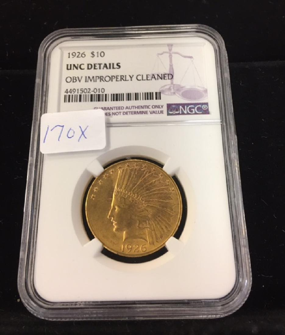 1926 $10 Gold Indian NGC Unc Details