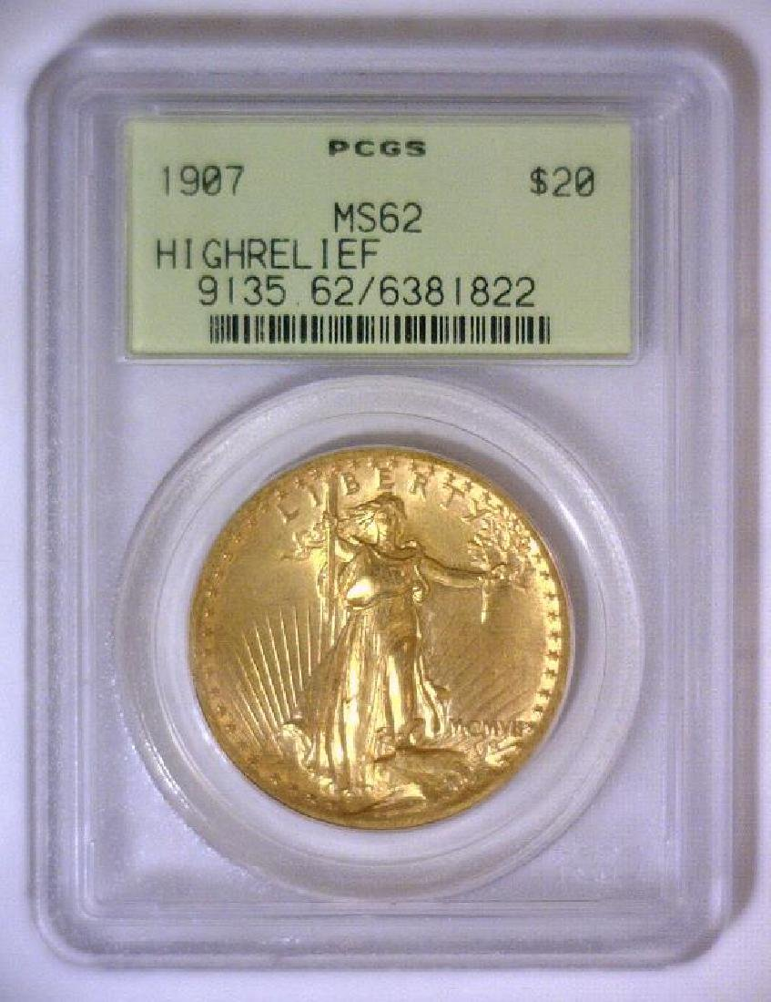 1907 $20 HIGH RELIEF Saint Gaudens OGH PCGS MS62