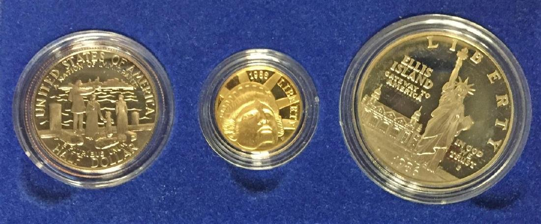 1986 Statue of Liberty 3-Coin Proof Set w/$5 Gold