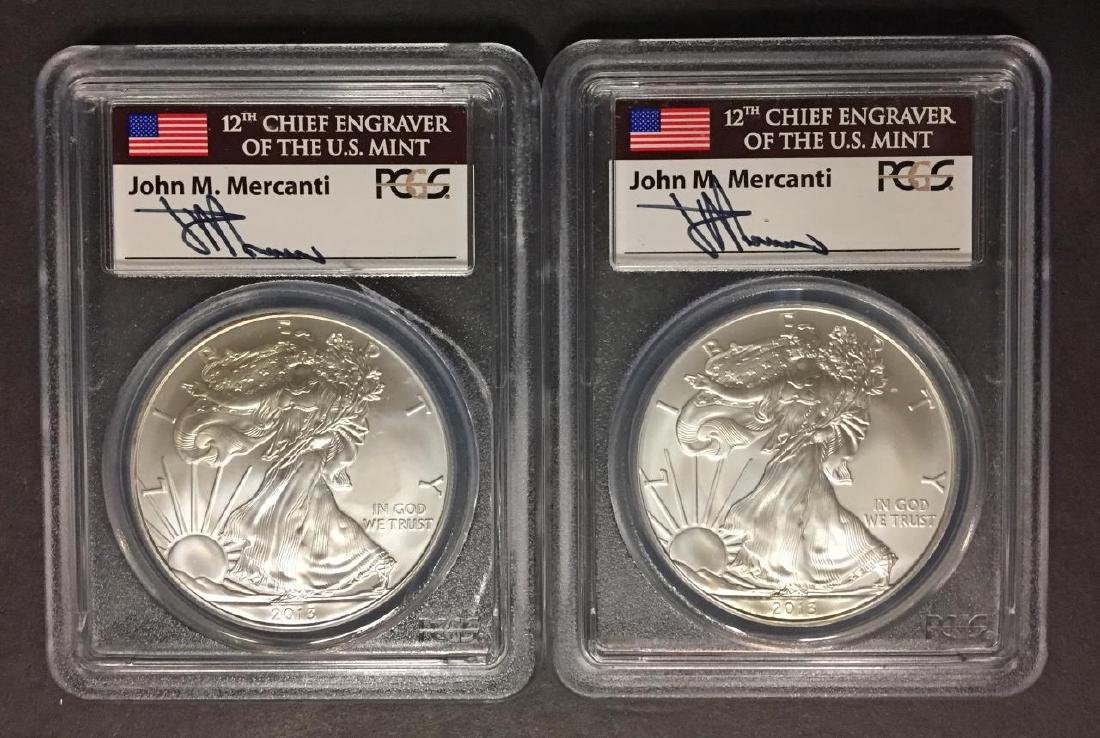 Pair 2013 Silver Eagles MERCANTI Signed PCGS MS70