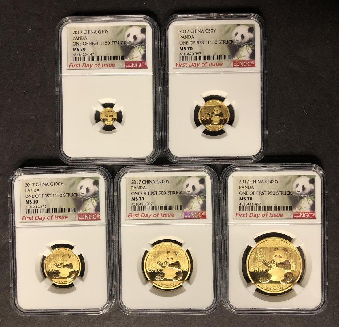 2017 Gold Panda FIRST DAY 5-coin Set NGC MS70