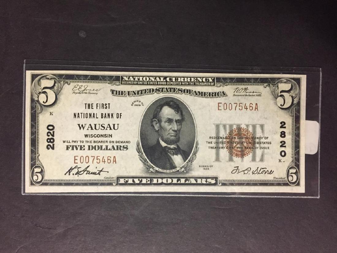 1929 $5 First Natl. Bank of Wausau WI Crisp CU