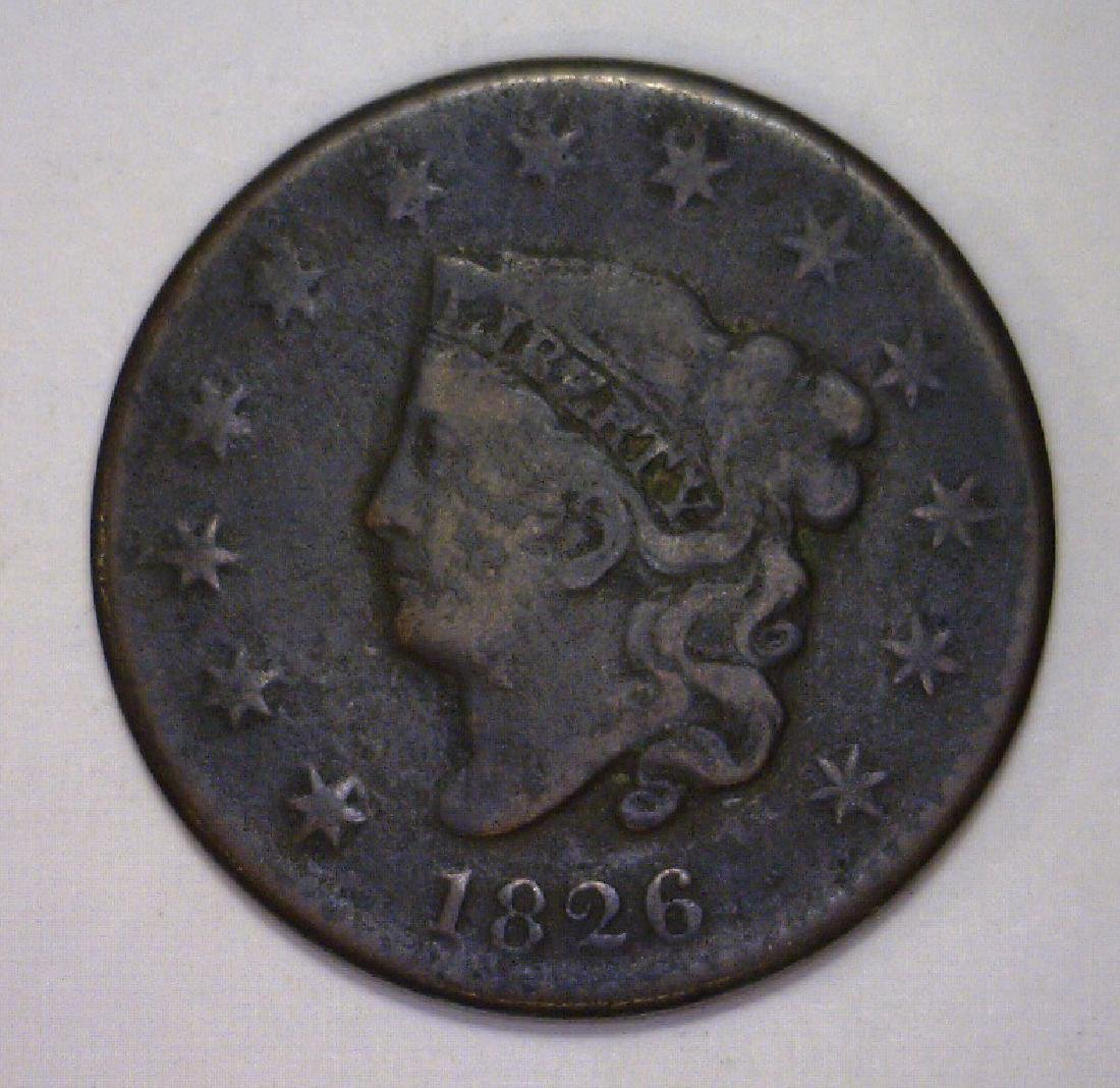 1826 Liberty Head Large Cent Very Good VG details