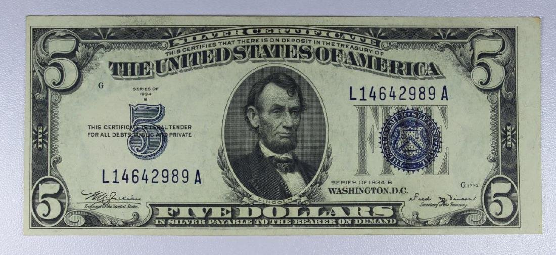 1934-B $5 Blue Seal Silver Certificate XF
