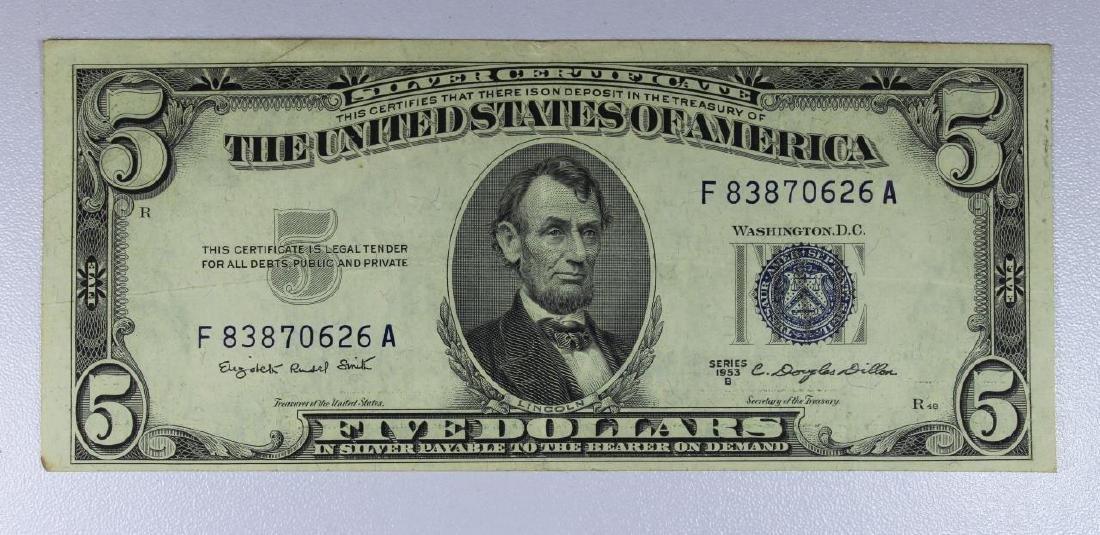 1953-B $5 Blue Seal Silver Certificate XF