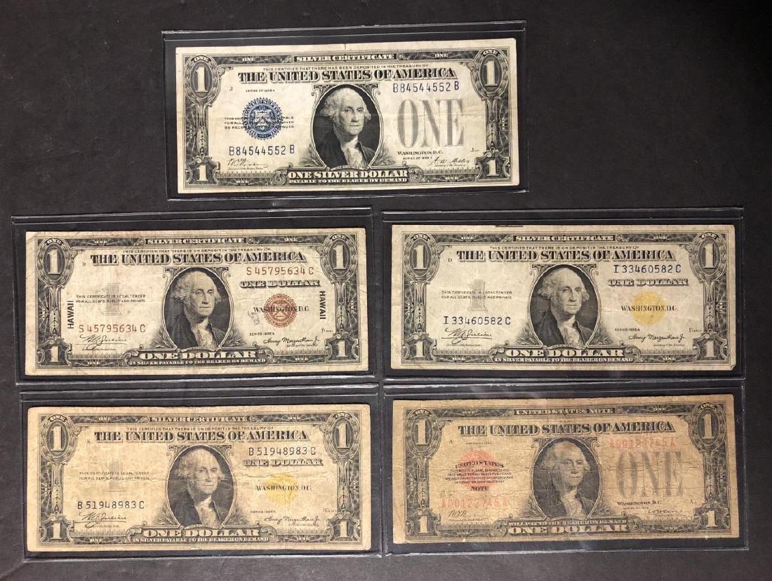 Lot of 5 1928 & 1935 $1 Funnyback Hawaii Africa US