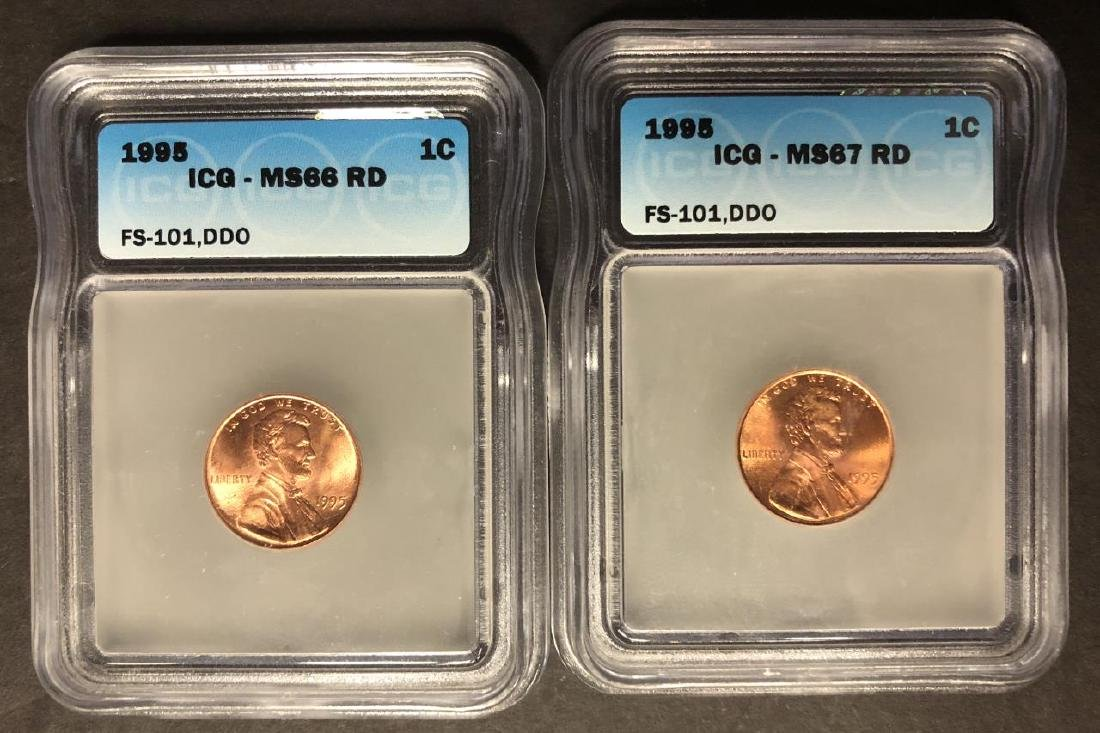 Pair of 1995 Double Die Lincoln Cent ICG MS66 MS67