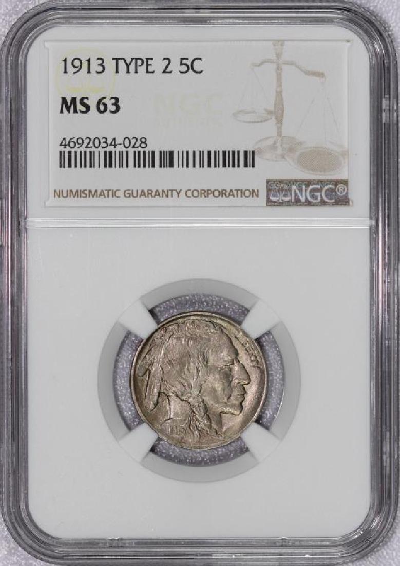 1913 Type II Buffalo Nickel NGC MS63
