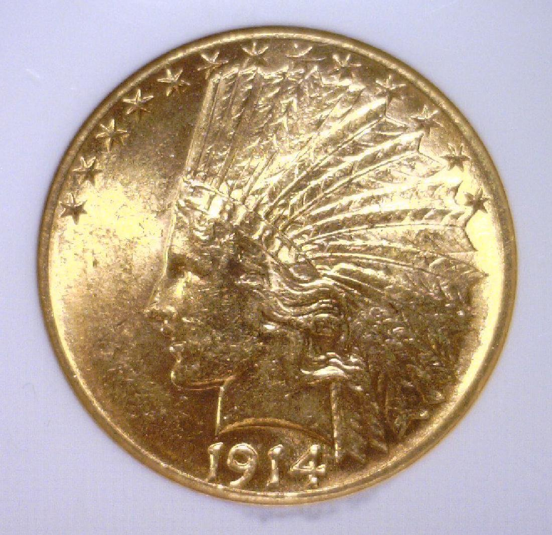 1914-D $10 Indian Head Gold Eagle NGC MS62