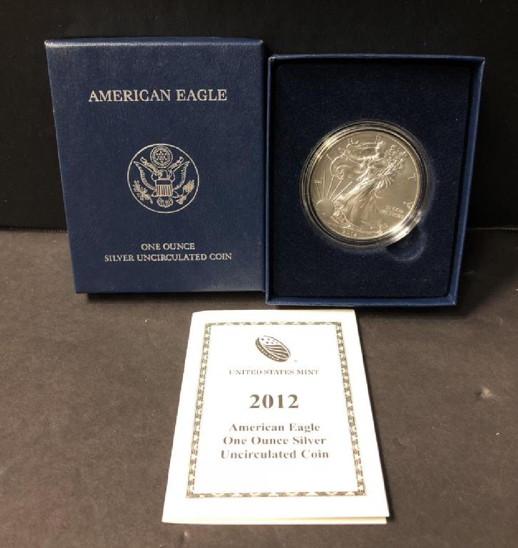 2012-W Burnished Silver Eagle with Box & COA