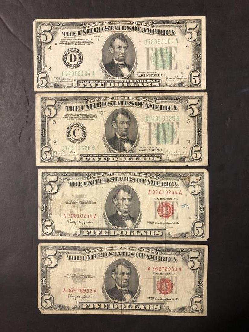 Lot of 4 $5 1934 FRN's & 1963 US Notes Circulated