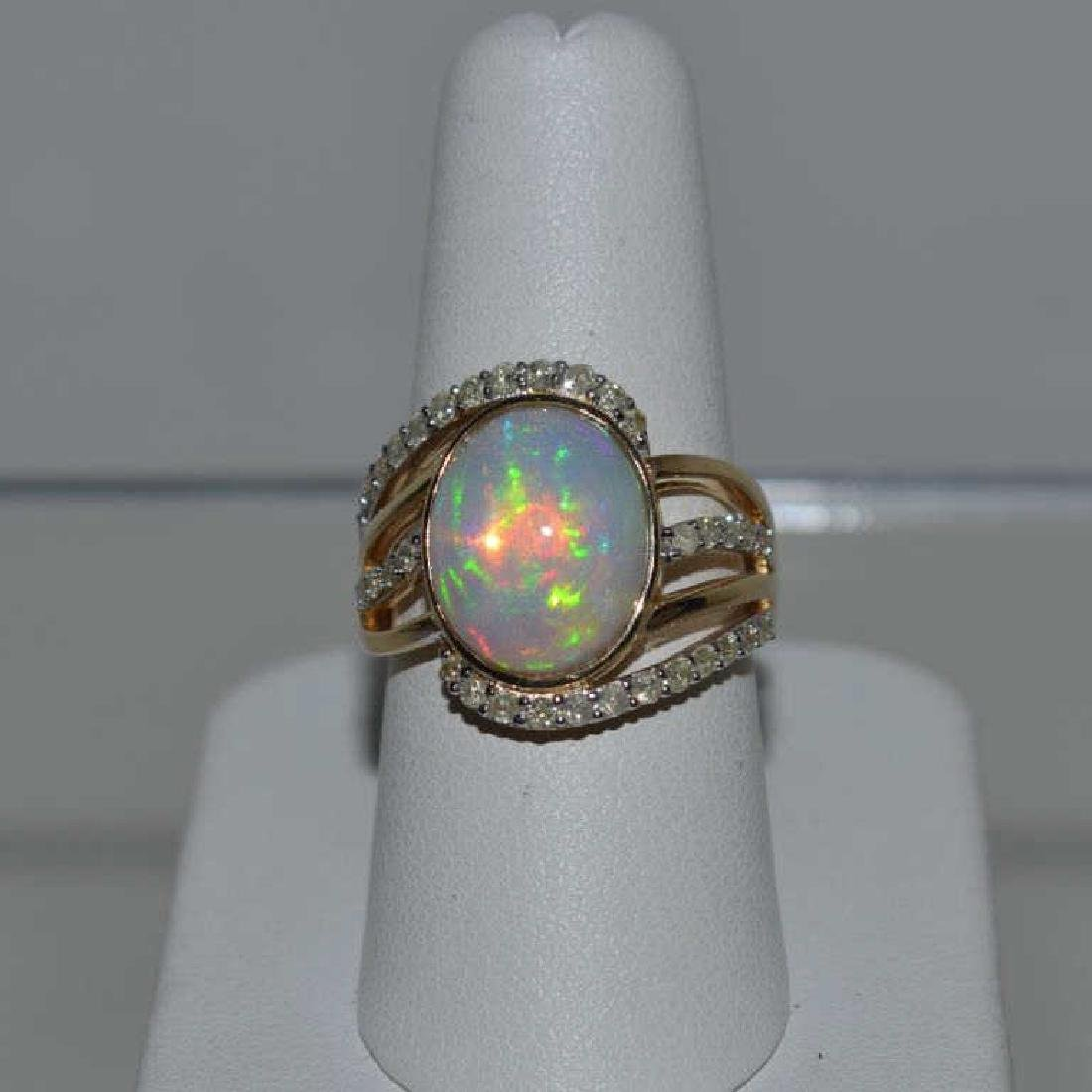 14kt yellow gold opal and diamond ring - 2