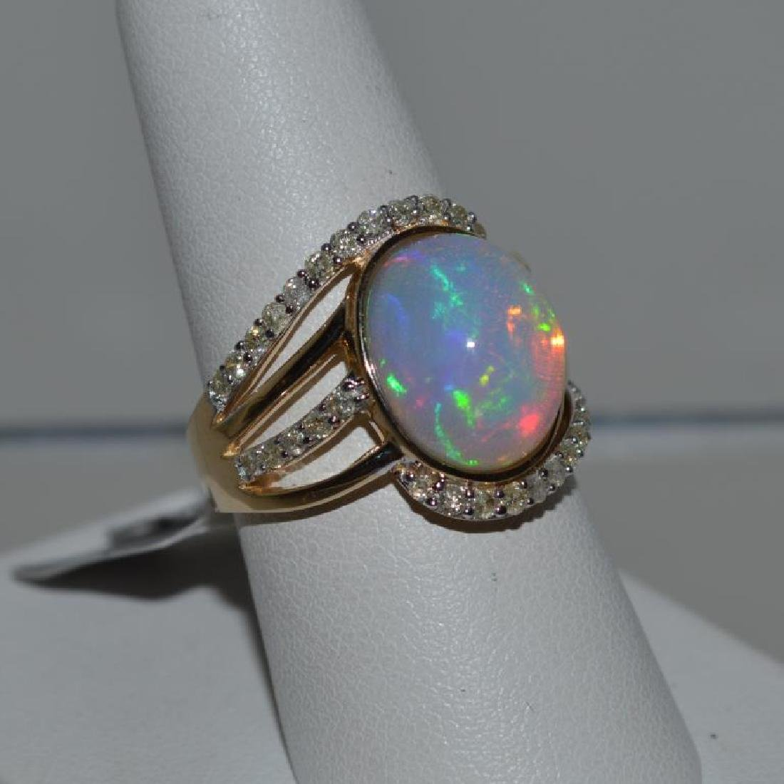 14kt yellow gold opal and diamond ring - 3