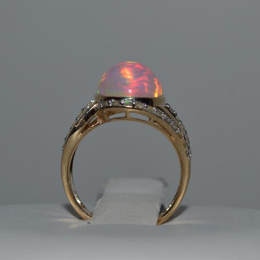 14kt yellow gold opal and diamond ring - 4