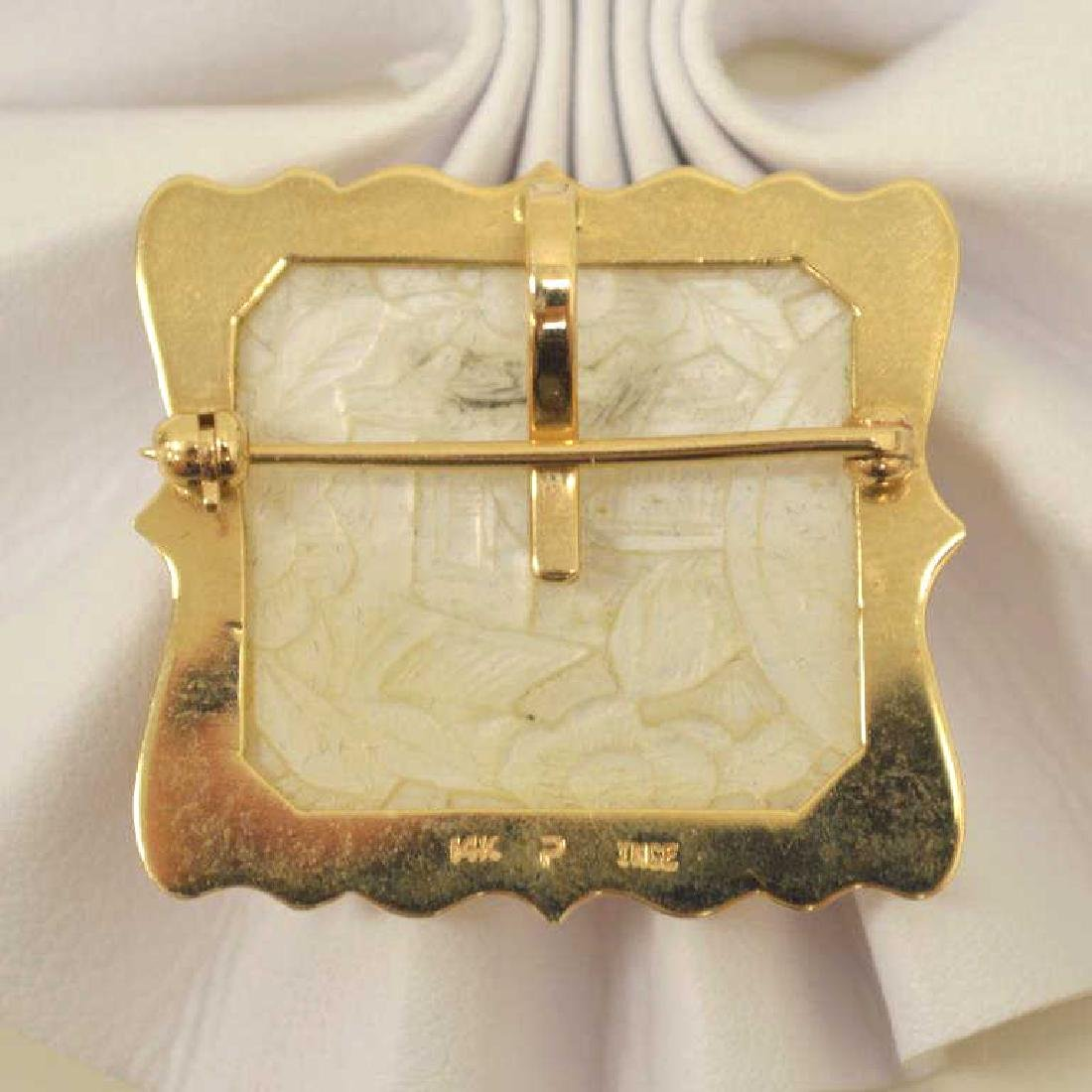 14kt yellow gold carved mother of pearl pendant - 3